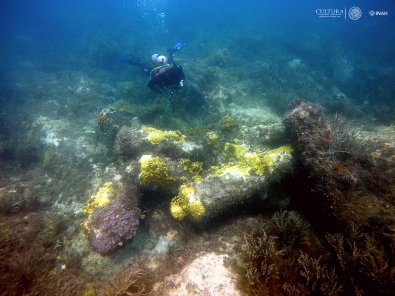 Kanonen niederländische Fregatte 18. Jahrhundert Madagascar-Riff, Yucatán