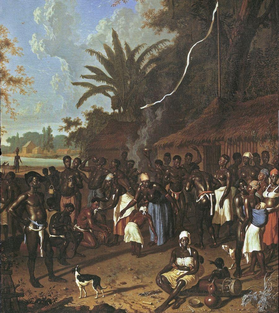 Ritueller Sklaventanz, Zuckerplantage, Suriname, 18. Jahrhundert