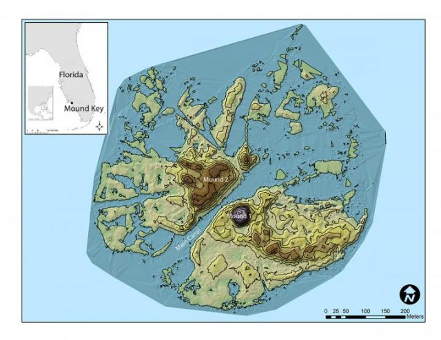 Mount Key, Estero Bay, Florida; Residenz Calusa-König; Fort San Antón de Carlos